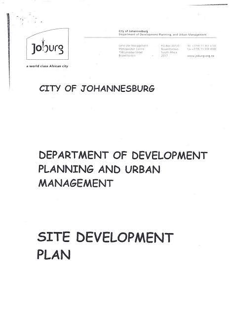 Site Development Plans SDP City of Johannesburg